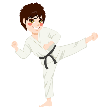 Young teenager black belt karate kid practicing kick exercise