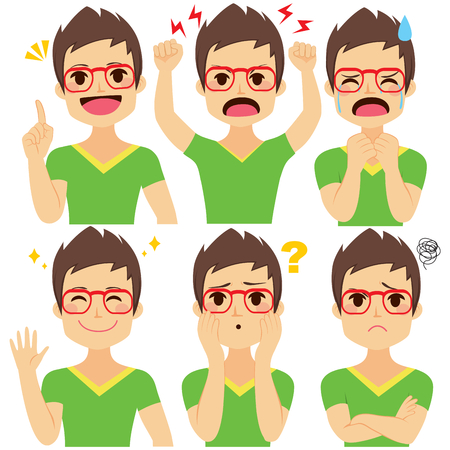 Young hipster man wearing glasses set with six different emotions