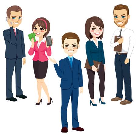 Group of men and women business people standing team concept