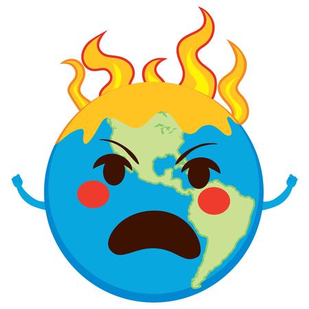 Angry planeet van de aarde in vlammen opwarming van de aarde concept van Stock Illustratie