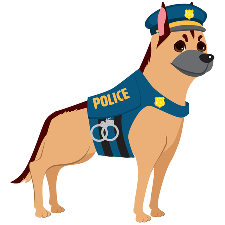 Cute professional police dog wearing uniform on service
