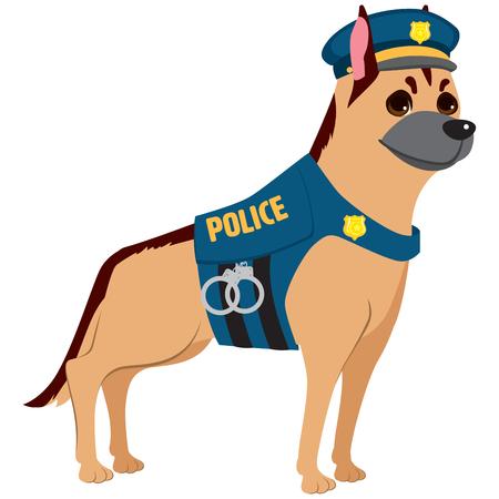 kampfhund: Netter Hund professionellen Polizeiuniform auf Service Illustration