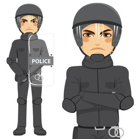 la policía antidisturbios hombre joven oficial de pie en uniforme