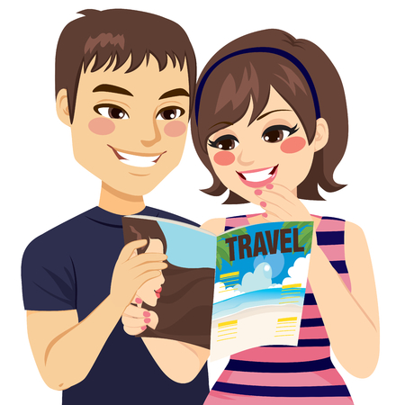 man looking: Young couple reading travel magazine planning vacation