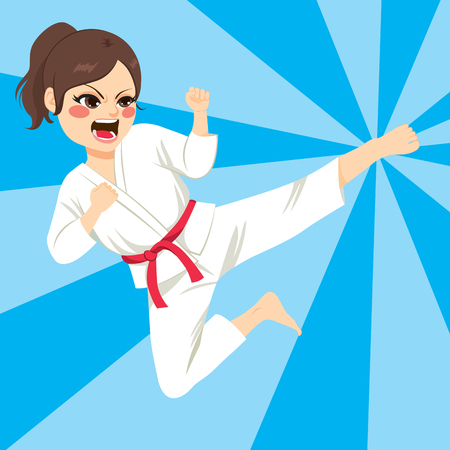 learning by doing: Young teenager karate girl doing kick jump with comic background Illustration
