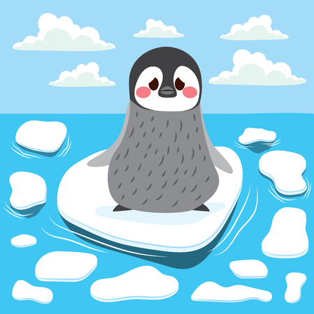 Cute sad baby penguin lost alone on melting iceberg global warming concept