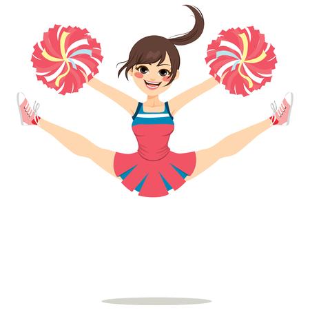 beine spreizen: Junge Teenager Cheerleader Mädchen springen glücklich mit gespreizten Beinen