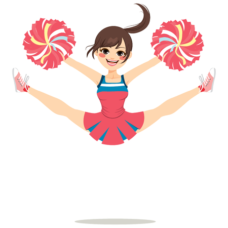 beine spreizen: Young teenage cheerleader girl jumping happy with legs spread