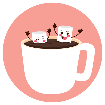 bathing: Cute marshmallow friends having fun bathing on cocoa cup Illustration