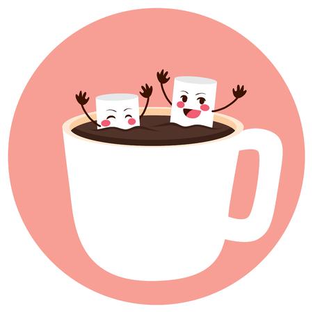 bathe mug: Cute marshmallow friends having fun bathing on cocoa cup Illustration