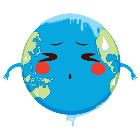 Cute Earth character suffering global warming melting concept Illustration