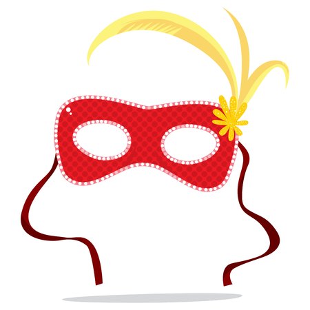 event party: Red Carnival Venetian mask with red ribbons and yellow feathers