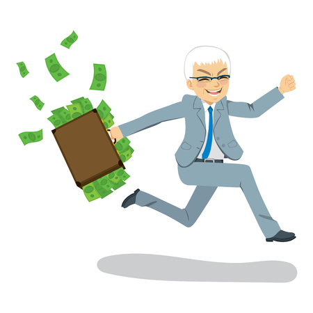 Senior businessman happy running away carrying briefcase full with money spilling Illustration