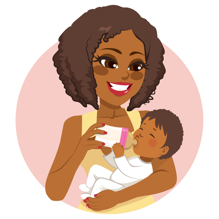 African American young beautiful woman nurturing her little baby with milk bottle Illustration