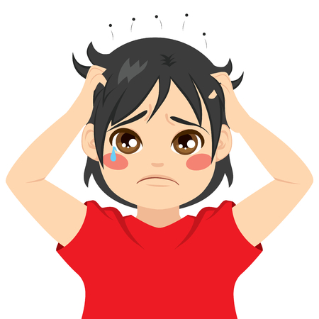 Little boy kid crying itchy hair with head full of lice Illustration