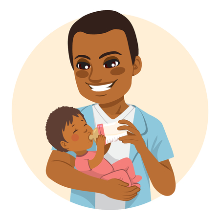 Young African American father happy feeding cute little baby daughter with milk bottle