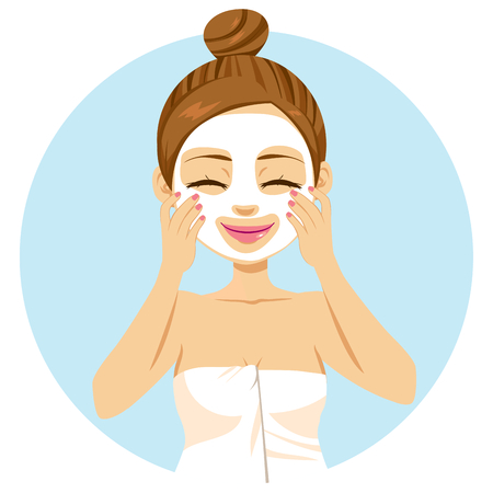 Cute beautiful young woman applying facial mask treatment Illustration