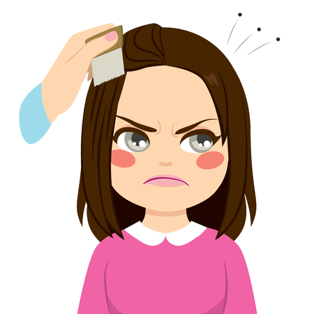 head louse: Cute little girl annoyed and mother combing hair with lice infection Illustration