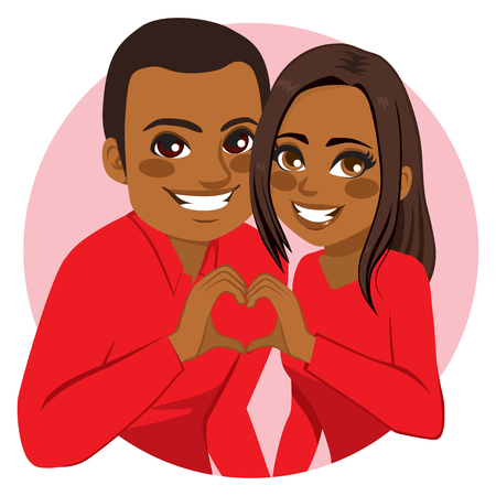 Sweet happy young African American couple making heart symbol joining hands on Valentine day Vectores