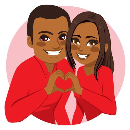 Słodkie szczęśliwy młodych African American para podejmowania symbol serca łączącą ręce na Walentynki Ilustracje wektorowe