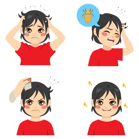 piojos: chico lindo con las diferentes etapas de la infección por piojos y después del tratamiento