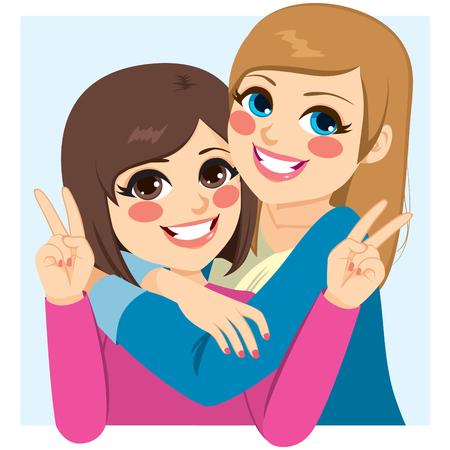 Twee mooie gelukkige beste vrienden meiden knuffelen Stockfoto - 69232488