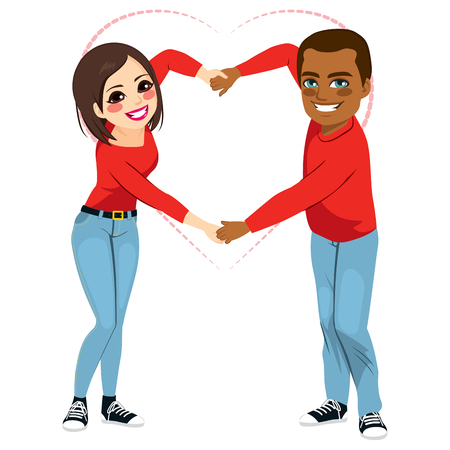 interracial: Lovely African American and Asian interracial Couple with red shirt and blue jeans making love shape with arms together holding hands