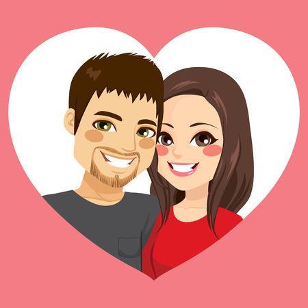 Cute young couple in Saint Valentine day on heart frame in love