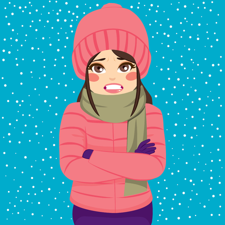 Woman shivering in cold winter outdoors wearing warm clothes on snowy day Çizim