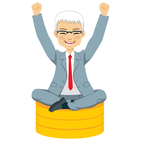 Senior businessman with arms up celebrating his success sit on golden coins