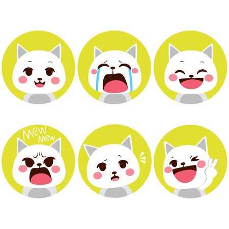 Little pet cute kitty cat facial expressions on flat color style