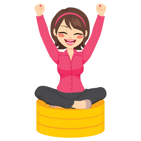 business woman: Beautiful young happy businesswoman with arms up sitting on golden coins