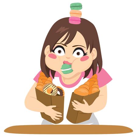 クロワッサン、ドーナツ、菓子大食いコンセプトのバッグを保持している若い女性