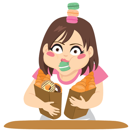 Young woman holding bags with croissants, doughnuts and pastry gluttony concept