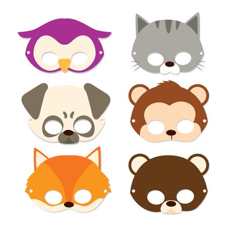 Nette Tier Kinder Masken Für Karneval Flache Farbe Stil Lizenzfrei ...