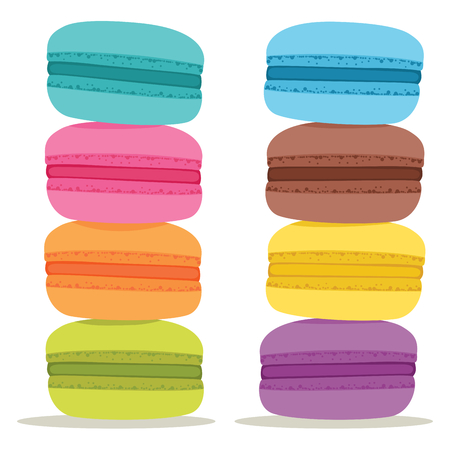 Pile of colorful Cake macaron isolated on white background Illustration