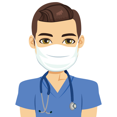 Young male nurse wearing surgical antiviral mask