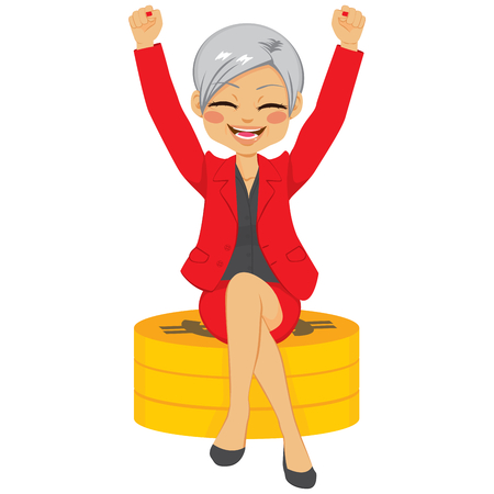Senior businesswoman with arms up celebrating her success sit on golden coins