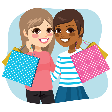 african americans: Two cute teenager girls best friends forever shopping concept Illustration