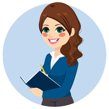 Mooie brunette zakenvrouw schrijven notities op haar notitieboekje