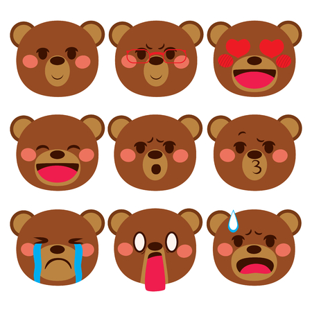 cute bear: Set collection of different bear face emoji expressions Illustration