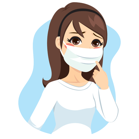 Jonge vrouw die medisch masker op het gezicht om griep te voorkomen