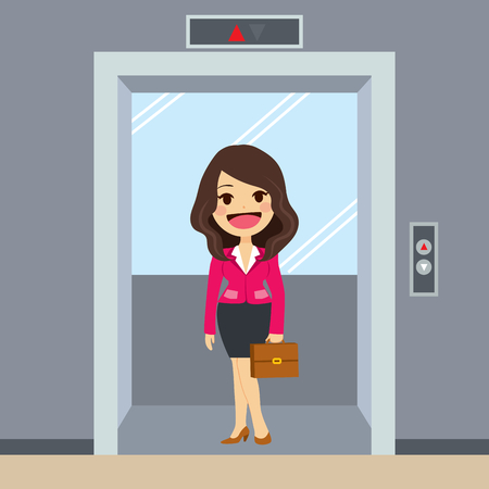 young businesswoman: Young happy businesswoman using elevator at office