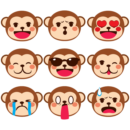 animal sad face: Set collection of different monkey face emoji expressions