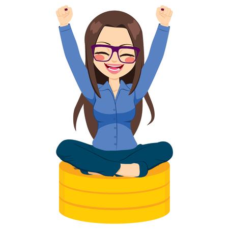 mujeres felices: Jóvenes con gafas de la celebración de su éxito sentado en monedas de oro Vectores
