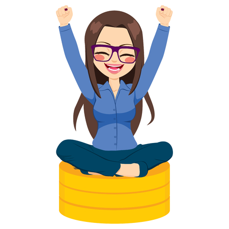happiness or success: Young businesswoman with glasses celebrating her success sitting on golden coins