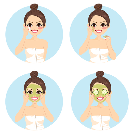 female beauty: Girl infographic of beauty cucumber facial treatment Illustration
