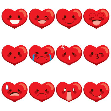 Set collection of different heart emoji face expressions