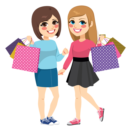 Cute teenager best friends shopping standing with big paper bags isolated on white background Иллюстрация