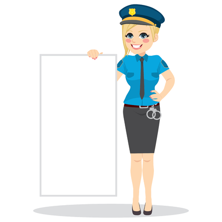 handcuffs woman: Police woman standing with uniform holding blank board